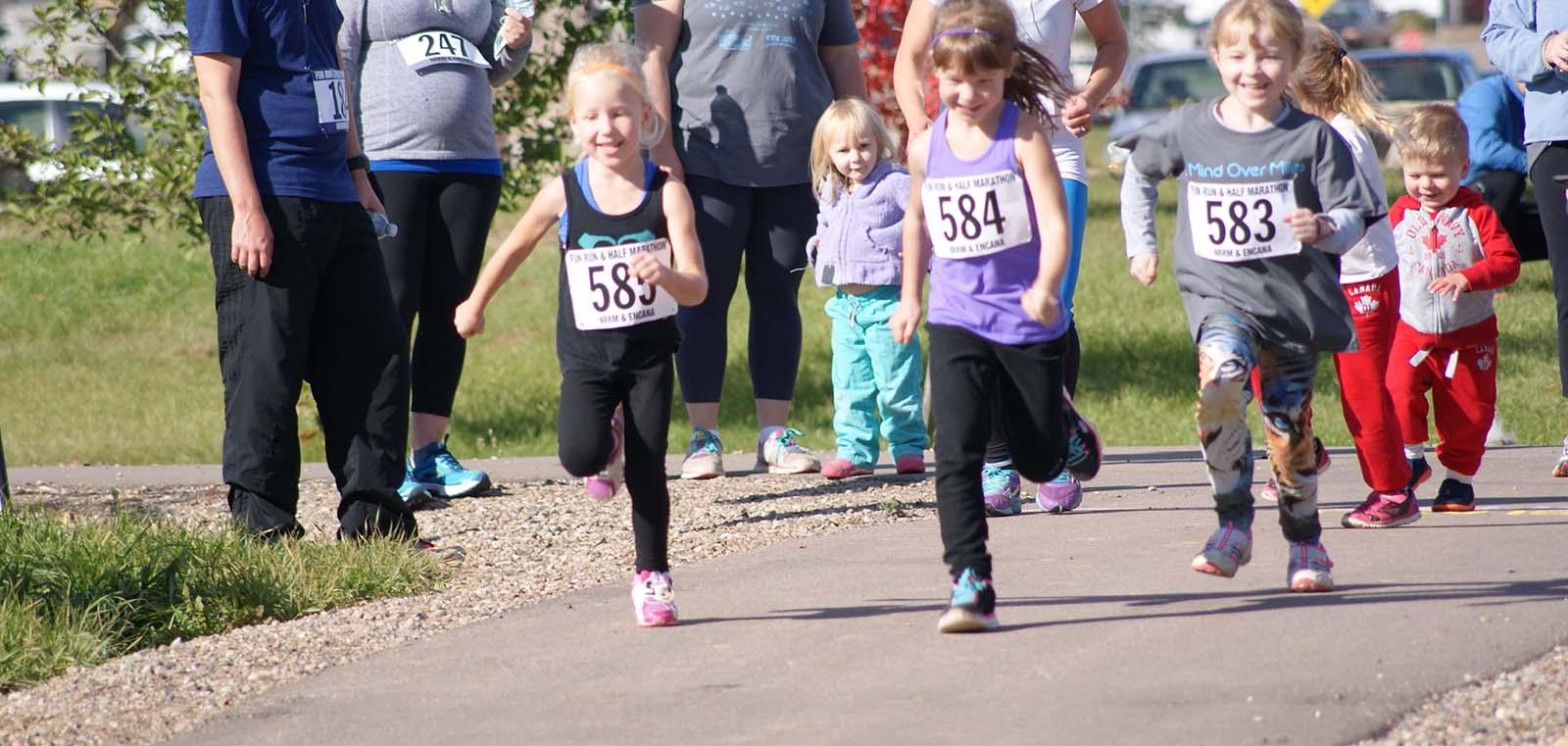 Children running in a races