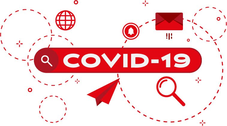 COVID-19 label on banner