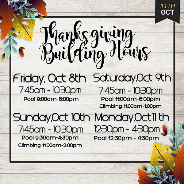 Northern Rockies Recreation Centre Thanksgiving Weekend Hours
